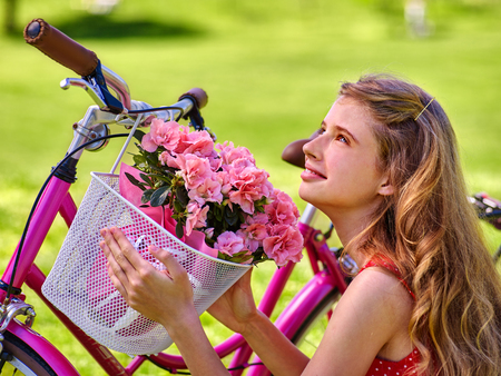 girl bike: Bikes bicycle girl. Teenager girl wearing dress keeps bicycle with flowers basket. Lot of green grass in park. Stock Photo