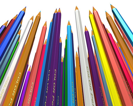 tightly: Large group of colored pencils. Colored pencils tightly pressed against each other. Colored pencils stand up tip. Isolated. Stock Photo