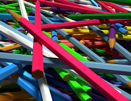 randomly: Close up of large group of colored pencils. Colored pencils scattered randomly.