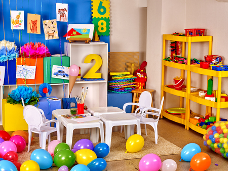 game room: Interior of game room in preschool primary school. Balloons in class primary school.
