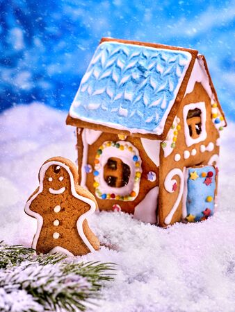 Gingerbread man in the snow. Cookie house on the background. Snow-covered fir twig for decoration. Stock Photo
