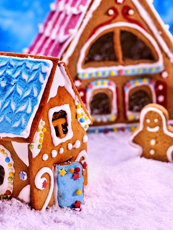 Large and small colored gingerbread house. Fabulous gingerbread man is playing in the snow.