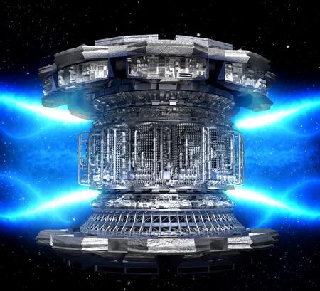 Concept futuriste de l'énergie. Conceptuel thermonucléaires de la centrale électrique de haute technologie ou d'un réacteur nucléaire, y compris les éléments des stations spatiales de fusion, la production d'électricité géothermique, des composants à micro-ondes.