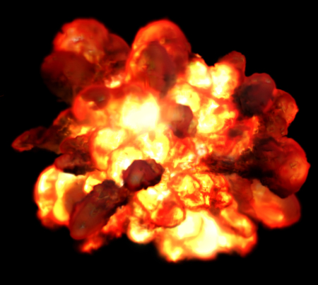 blasting: Explosion fire isolated on black background. Detonation bomb as game design element. Flame consist of orange, yellow and red colors. Blasting burning gases methane or propane.