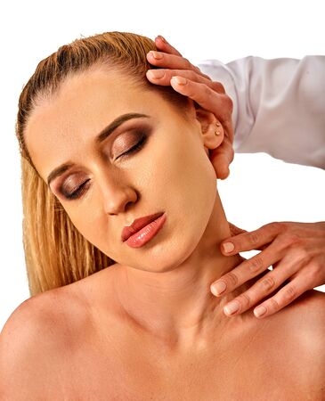 luxacion: Shoulder and neck massage for woman in spa salon. Doctor making neck therapy in rehabilitation center on isolated. Direction of a dislocation in a specialized clinic.