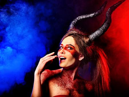 hellfire: Mad satan woman on black magic ritual of in hell Stock Photo