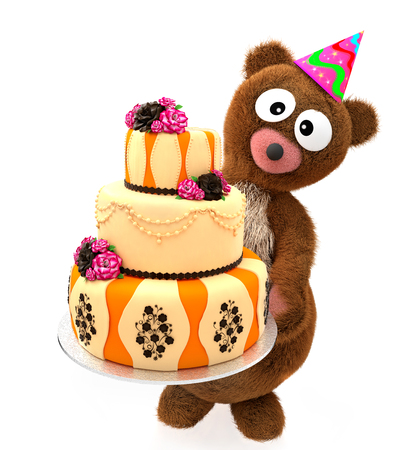 Happy Birthday Toy Bear wear Party Hat. Bear Stuffed Animals with Big Eyes hold holiday sweet cake tier. 3D rendering.