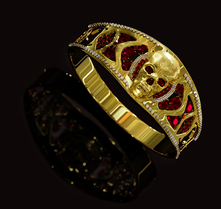 Jewelry gold skull ring with diamond, red gems. Antiques from pirate treasure or hoard may be magic vampire artifact. Luxury bijouterie band for biker with reflection on black background. 3D render.