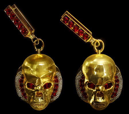 Jewelry gold skull earrings with diamond and red ruby gems. Antiques fingers ring from pirate treasure or hoard may be magic vampire artifact. Luxury bijouterie band for biker. 3D rendering.