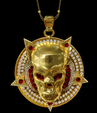 Jewelry gold skull pendant with star pentagram diamond and red ruby gems. Antiques necklace from pirate treasure or hoard may be magic vampire artifact. Luxury bijouterie for biker. 3D rendering.