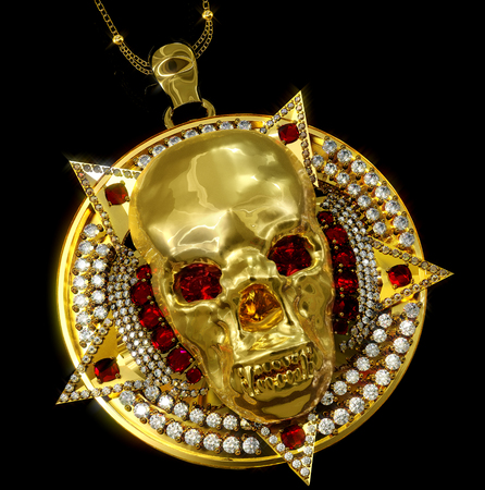 Jewelry gold skull archaeological ancient pendant with star pentagram diamond watches red ruby gems. Memento mori sacred necklace historic find from pirate treasure or hoard in museum. 3D render.