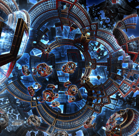 3d fractal of future city. Space ship from metal elements in cosmos. Clean energy concept. Orbital station of future civilization in galaxy . High-tech settlement on city space orbit. Stock Photo