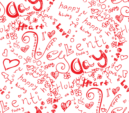 Happy valentine day heart from doodle symbol seamless. Included happy valentines day and love with holiday words. Red hand drawing vector illustration of background shape.
