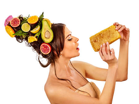 Facial honey mask for woman lips. Honeycombs natural homemade organic threatment. Skincare by face. Cough is very treatable with honey. Acceleration of hair and eyebrows growth.