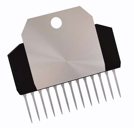 Integrated circuit or micro chip and new technologies on isolated. Computer parts artificial intelligence component with radiator metal digital electrical integrated circuits. 3d rendering. Back view.