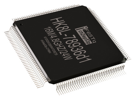 Integrated circuit or lowpass information micro chip and new technologies on isolated. Digital microcontroller for computer parts coprocessor. Core microprocessors 3d rendering. Foto de archivo