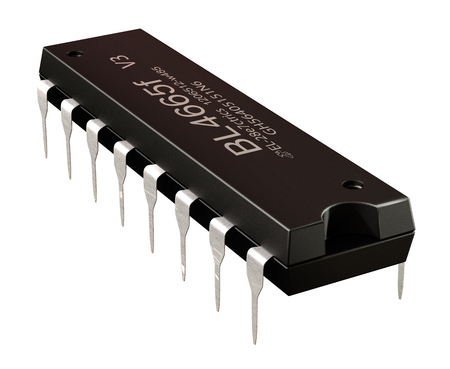 Integrated circuit or micro chip and 16 order pin circuit design isolated. Computer parts artificial intelligence component of digital machine . 3d rendering. Audio power amplifier AD DA converters . Banco de Imagens