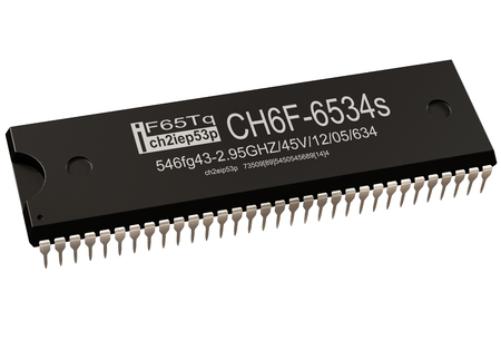Integrated circuit or micro chip and new technologies on isolated. Computer parts controller artificial intelligence component of virtual reality. 3d rendering of core semiconductor coprocessor . Banco de Imagens - 110343592