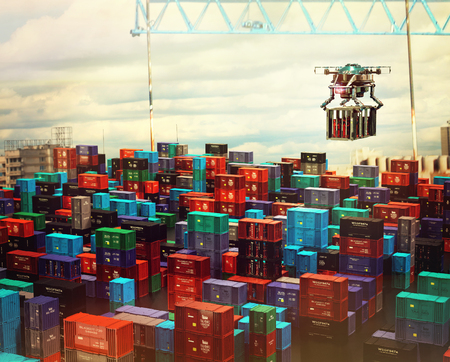 Drone cargo with container freight above city futuristic depot. Solving logistical urban problems in future. Stock Photo