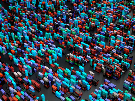 Drone pile of shipping containers freight cargo in city depot warehouse. Outdoor solving logistical urban problems. Birds eye view shooting . 3d rendering. Фото со стока