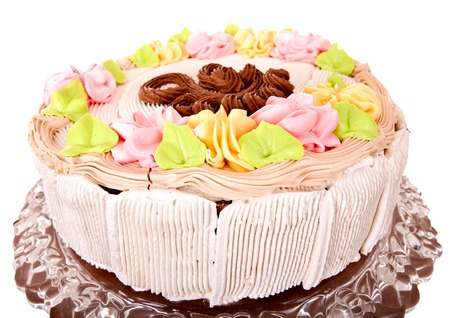 Cake Cream Chocolate on tier stand isolated