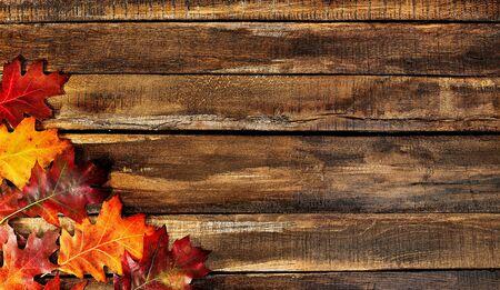 Autumn maple leaves on top view wooden table. Horizontal frame with left corner bottom. Standard-Bild