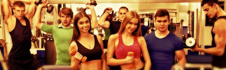 Sport gym with group of people friends. Horizontal long frame banner. Standard-Bild