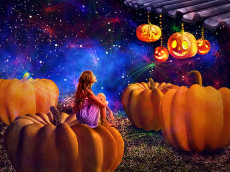 Kid on pumkin in halloween night dreems about fall harvest holiday. Magic jack lantern pumpkin decoration roof light by girl. Autumn children sitting on star sky background.