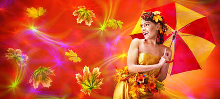 Autumn sale umbrella banners leaves background with beautiful woman. Fashion dream in red fall color outside. 版權商用圖片