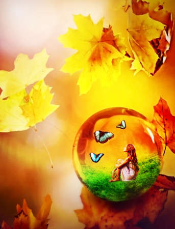 Cycle seasons of conceptual child art. Dream of green grass and autumn leaves. Hello autumn goodbye summer concept.