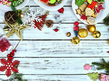 Christmas food background with cookies on copy space. Holiday above Xmas dessert on white wood top view. 版權商用圖片
