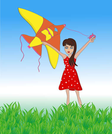 Kid with flying kite in field with blue sky outside in summer time. Vector illustration cartoons of child girl playing in park sun day. 向量圖像