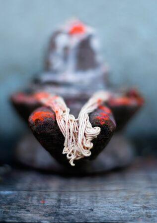 closeup of Hindu god Shiva linga,representation of lord,used for offering prayers Stock Photo