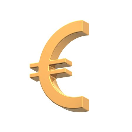 Gold Euro sign isolated on white. Computer generated 3D photorendering. photo