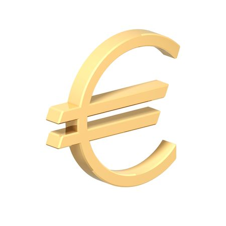 Gold Euro sign isolated on white. Computer generated 3D photo rendering. Stock Photo - 4369435