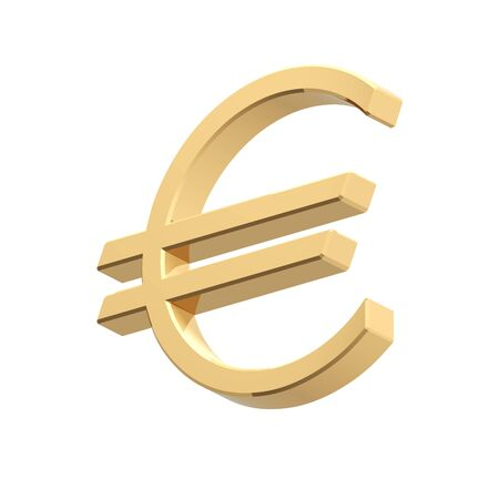 Gold Euro sign isolated on white. Computer generated 3D photo rendering. photo