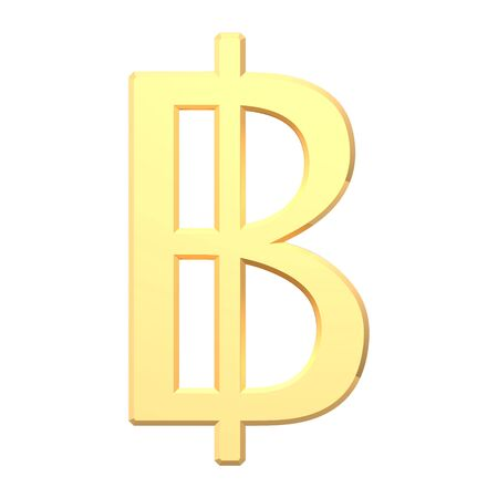 baht: Gold Thai baht sign isolated on white. Computer generated 3D photo rendering. Stock Photo