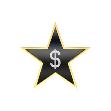 Chrome Dollar sign in the star isolated on white. Computer generated 3D photo rendering. photo