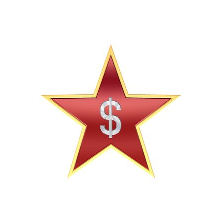 Chrome Dollar sign in the star isolated on white. Computer generated 3D photo rendering. Stock Photo - 4440067