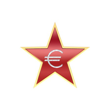Chrome Euro sign in the star isolated on white. Computer generated 3D photo rendering. Stock Photo - 4503033