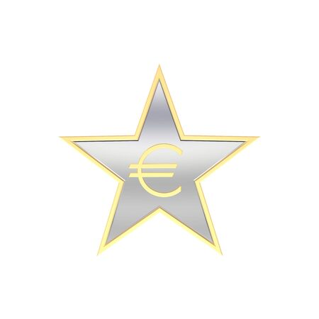 Gold Euro sign in the star isolated on white. Computer generated 3D photo rendering. photo