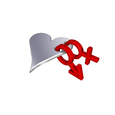 Red symbols linked with heart. Computer generated 3D photo rendering. photo
