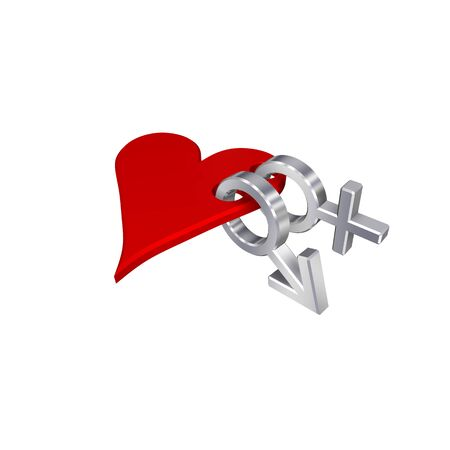 Chrome symbols linked with heart. Computer generated 3D photo rendering. photo