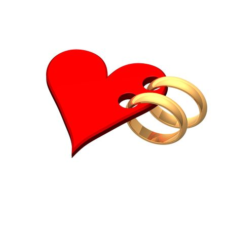 Two gold wedding rings with red heart. Computer generated 3d photo rendering. Stock Photo - 4602321
