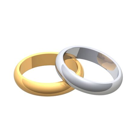 Silver and gold wedding rings. Computer generated 3d photo rendering. photo
