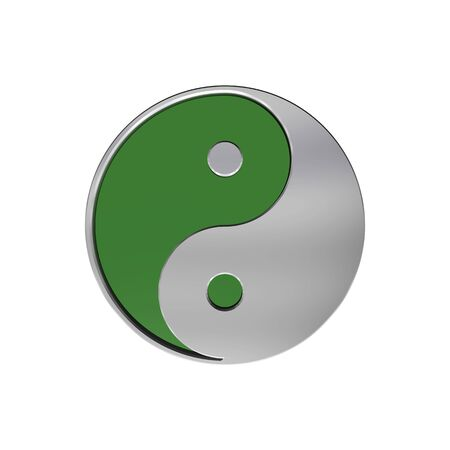 Chrome Tai Chi - Yin Yang sign. Computer generated 3D photo rendering. photo