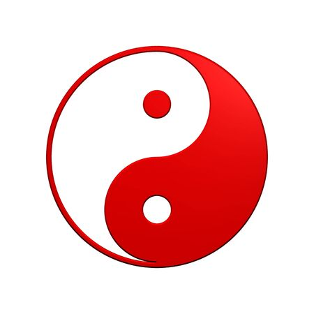 Red Tai Chi - Yin Yang sign. Computer generated 3D photo rendering. Stock Photo - 4648478