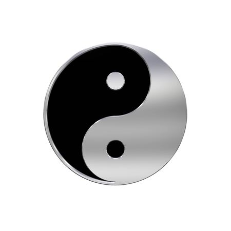 antithesis: Chrome Tai Chi - Yin Yang sign. Computer generated 3D photo rendering.