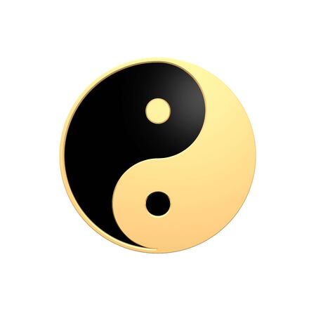 Gold Tai Chi - Yin Yang sign. Computer generated 3D photo rendering. photo