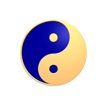 tai chi: Gold Tai Chi - Yin Yang sign. Computer generated 3D photo rendering.